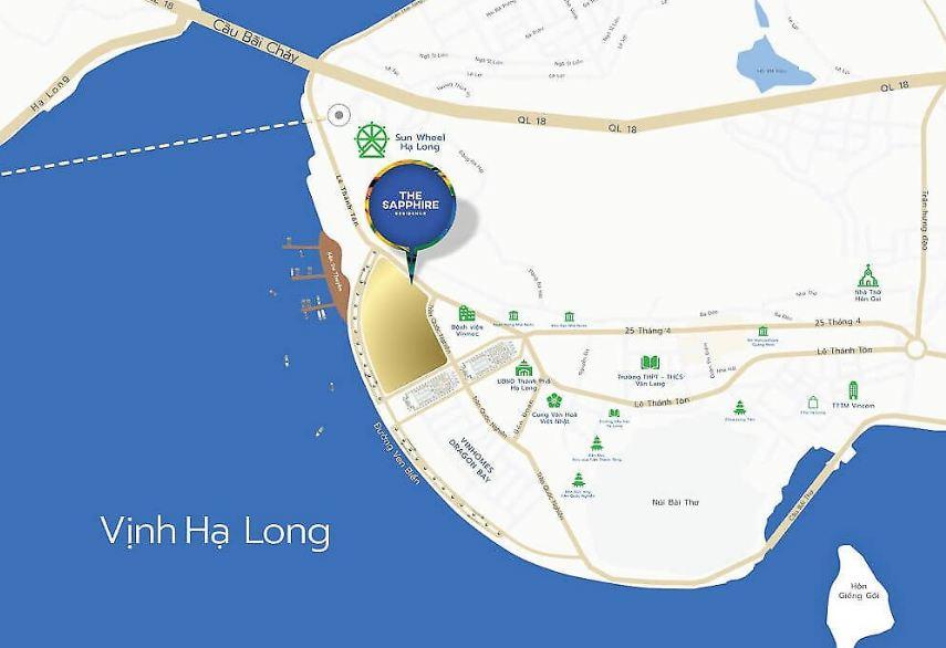 Vị trí cạnh vịnh của The Sapphire Condotel Hạ Long